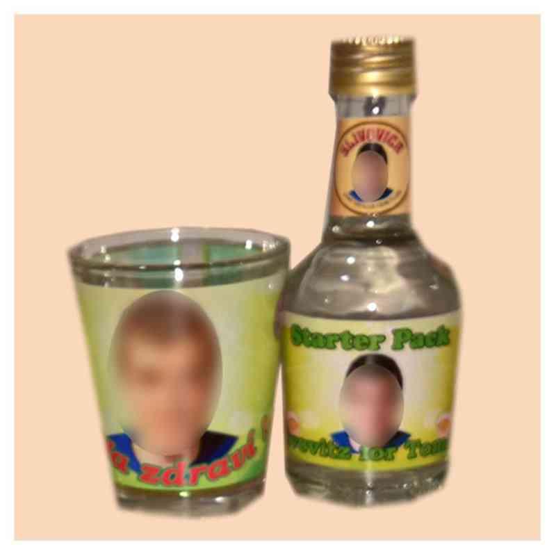 Set štamprle  a likérové lahvičky, s vlastní fotkou, či potiskem, objem 40 ml, prázdné