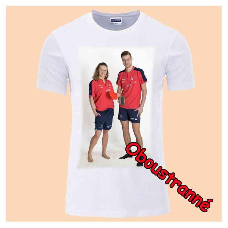 Tričko bílé, dámské,  s vlastní fotkou, oboustranný potisk