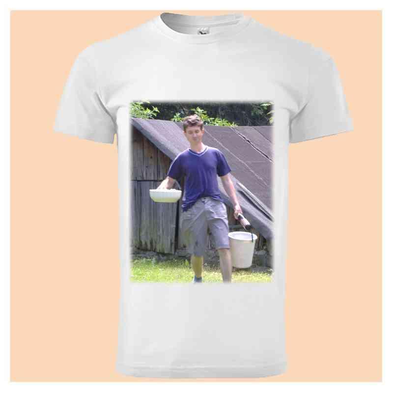 Tričko bílé pánské,  s vlastní fotkou, či potiskem, vel. S,M,L,XL,XXL