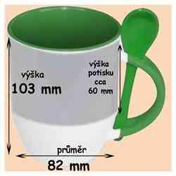 Hrnek se lžičkou zelený ,330 ml, s vlastní fotkou, či potiskem,