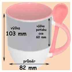 Hrnek se lžičkou růžový ,330 ml, s vlastní fotkou, či potiskem,