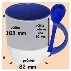 Hrnek se lžičkou modrý, 330ml, s potiskem