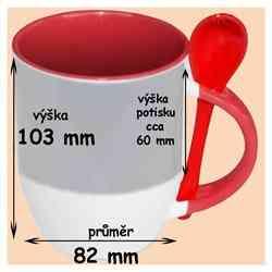 Hrnek se lžičkou červený ,330 ml, s vlastní fotkou, či potiskem,