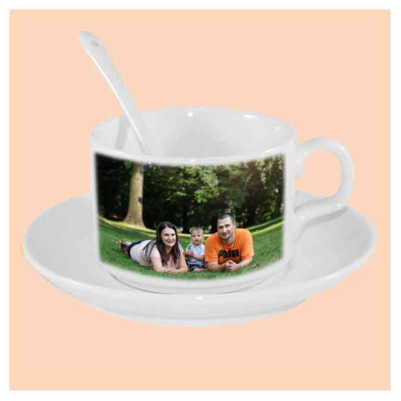 Kávový keramický set, šálek, bílý s vlastní fotkou, či potiskem,  150 ml