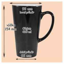 Magic velký Latté svlékací černý  s vlastní fotkou, či potiskem,  400 ml