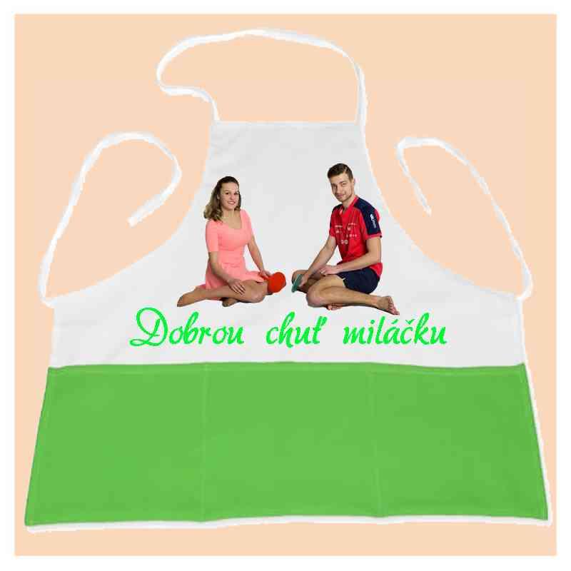 Kuchyňská zástěra s kapsami,zelená, s vlastní fotkou, či potiskem, univerzální velikost