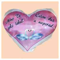 Miluji Tě jako labuť -polštář srdce