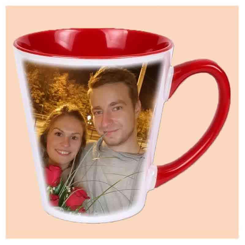Hrnek latté,červený, keramický,s vlastním potiskem