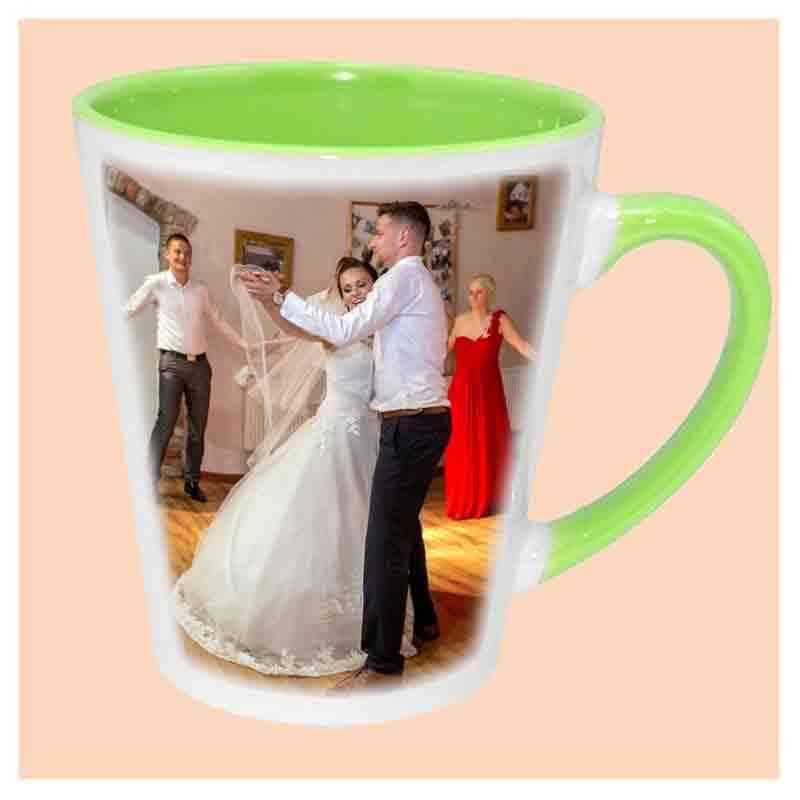 Hrnek latté,zelený, keramický,s vlastním potiskem